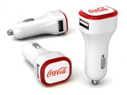 dual car charger with logo